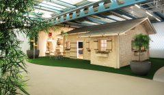 Eine Alphütte als Meetingraum, Loungemöbel und visuell kreative Vorhangleemente für Besprechungsorte und Arbeitsplätze - das SITAG Home of Visions zeigt den Arbeitsplatz der Zukunft.    Foto: Sitag AG